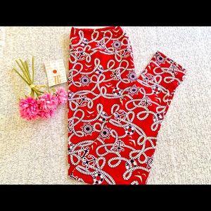 LulaRoe red tc nautical leggings ⚓️⛵️